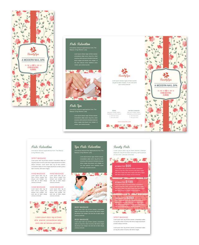 nail brochure templates free - nail spa center tri fold brochure template http www
