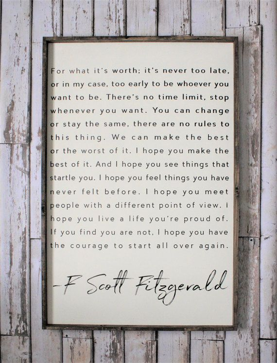 F. Scott Fitzgerald Wood Sign. Inspiring Quotes. Rustic Decor.