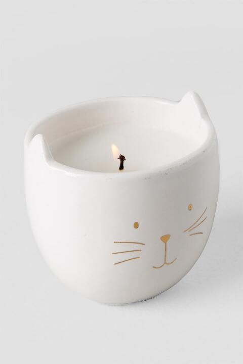 Ceramic Metallic Gold Cat Can Brighten Any Day Candle