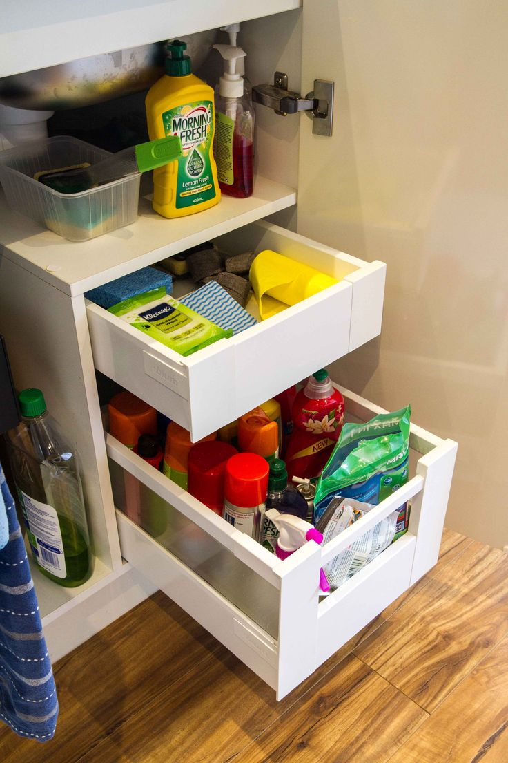 Contemporary kitchen. Under sink storage. Clever use of space. Custom made kitchen. www.thekitchendesigncentre.com.au