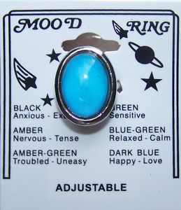 1975 - Mood Ring created by Joshua Reynolds. Rings reacted to changes in body temperature and purported to show a person's present mood. I had one of these.