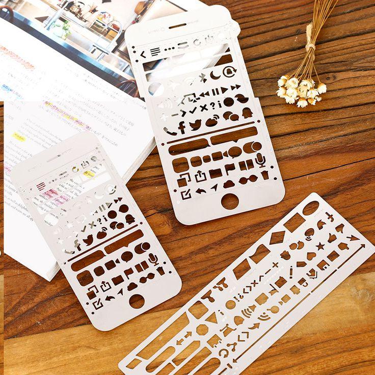Kreatif iphone 6/6 s plus web ui potongan menggambar stensil penguasa bookmark logam diy untuk notebook perencana sketsa stainless steel
