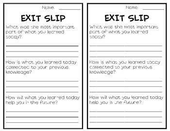 Using Exit Slips In The Art Room Of Ed