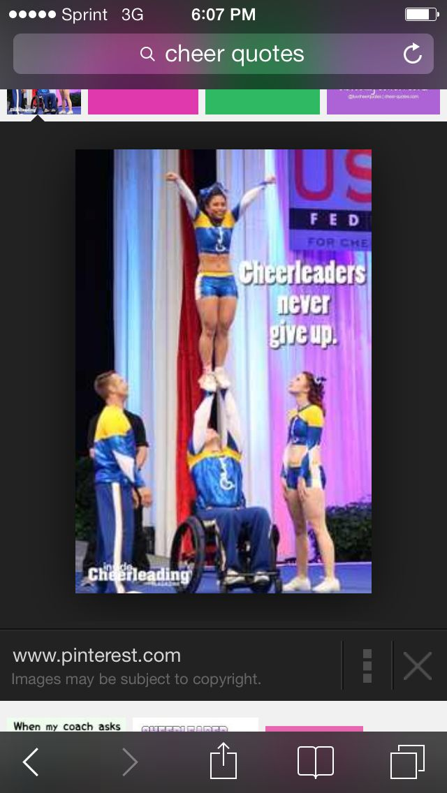 Cute cheer quote. They never give up even if they have a broken bone. Victoria did the right thing.