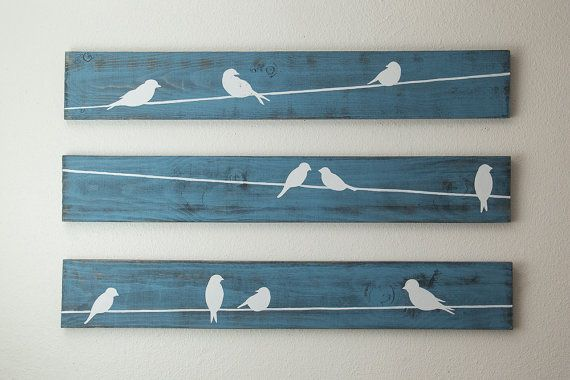 Rustic Wall Art Birds on a wire 3 piece set LARGE by HomeFrosting                                                                                                                                                                                 Mais