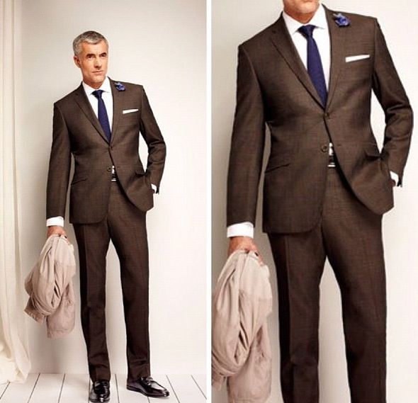 Love this beautiful brown suit and great tie! Colonel Mustard