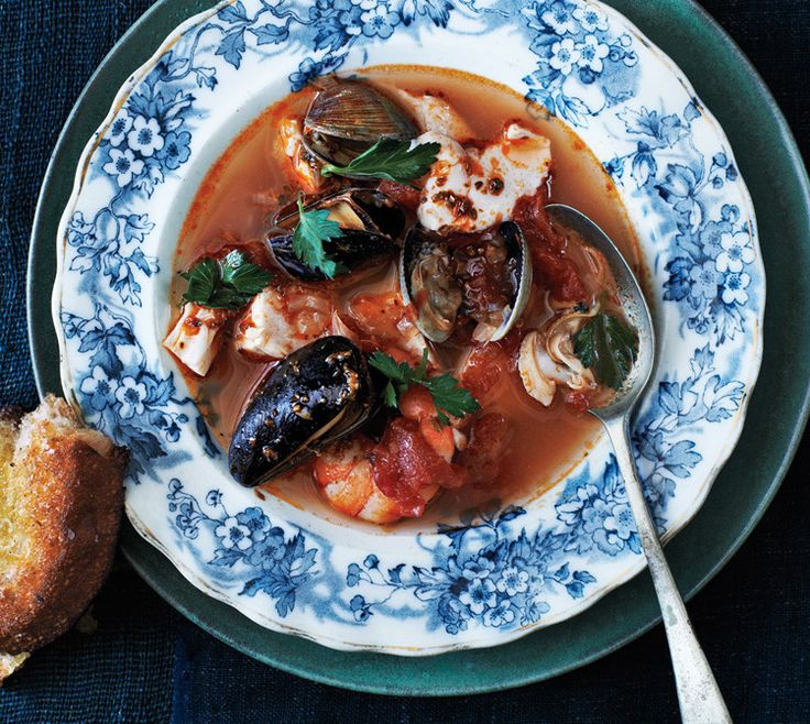 This stew uses bottled clam juice, a smart shortcut to a robust broth. Recipe by Tom Moorman and Larry McGuire, Clark's Oyster Bar, Austin