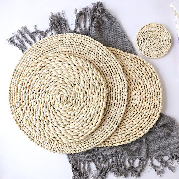 Rustic Round White Straw Table Mat Wedding Gift Tea Set Etsy In 2021 Straw Placemats Woven Placemats Placemats