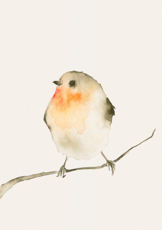Watercolor Bird Bird Art Print from Original by dearpumpernickel