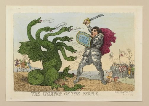 """The Champion of the People"" by Thomas Rowlandson (1784) in the Royal Collection, UK - From the curators' comments: ""A hand-coloured print of Charles James Fox clad in armour as he fights the Pittite Hydra with a sword and 'shield of truth'. On right bands of English, Irish and East Indian supporters stand and kneel in alleigance. In the left of the background, a group of men representung foreign powers, dance around the 'Standard of Sedition'."""