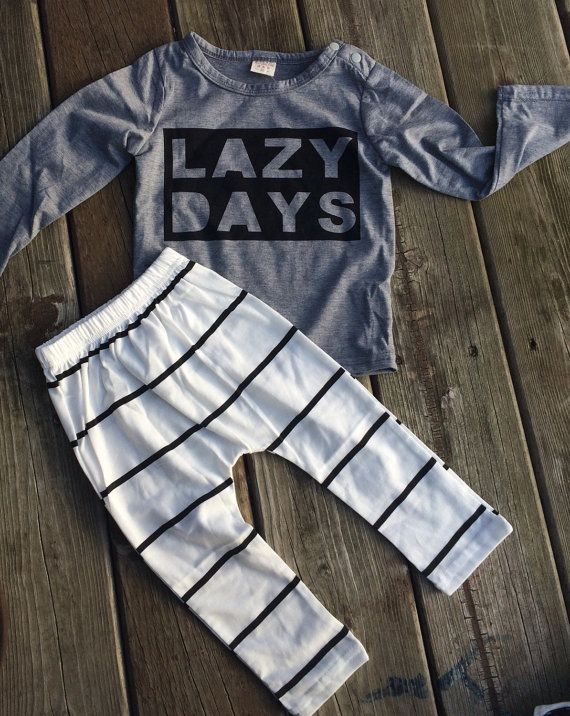 This Lazy Day top and striped bottom set are so cute and comfy, made of a lightweight cotton. Make your little one stand out in the trendy