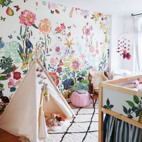 "A boho vibe is laid back and fun, everything a baby's room should be. Floral patterns bring a bit of the outdoors inside —€"" and swap in a teepee for the typical play tent."