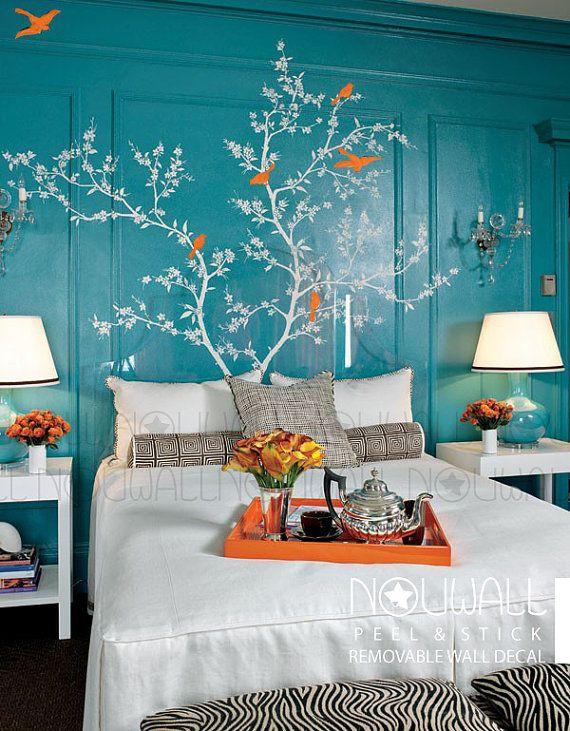 Abnehmbare Chinoiserie Blühender Zweig mit exotischen von NouWall