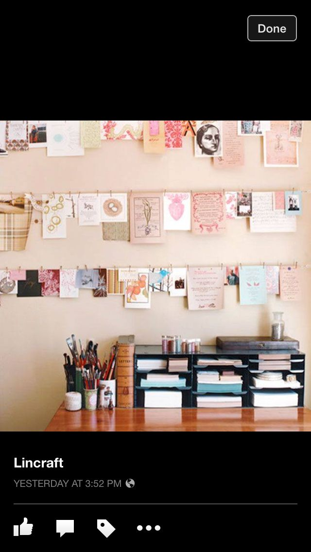 Office With Images Creative Workspace Hanging Photos