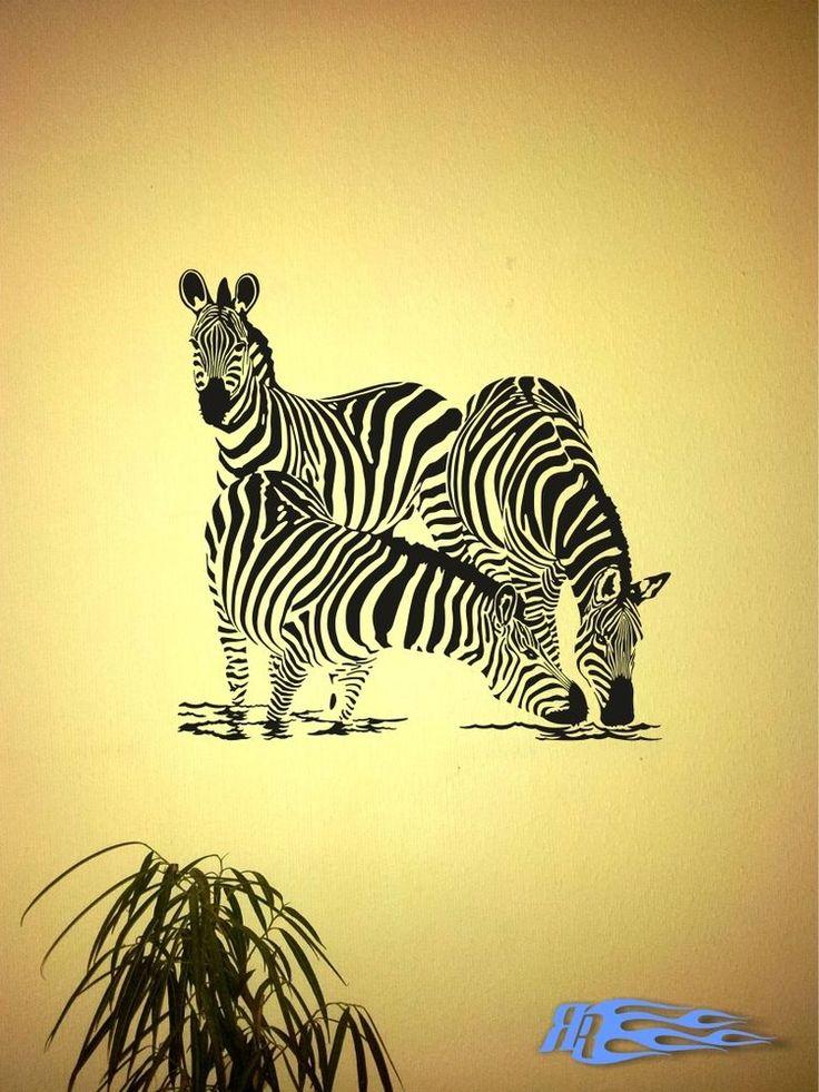 zebra wohnzimmer:Wandtattoo Zebra oracal Wohnzimmer Wandaufkleber Tier Pferd