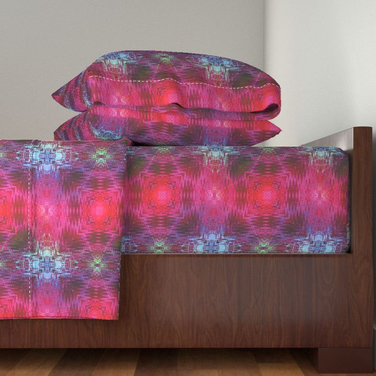 NEW WEAVE KILIM NAVAJO IKAT VIOLET on Langshan Sheet Set by paysmage | Roostery Home Decor