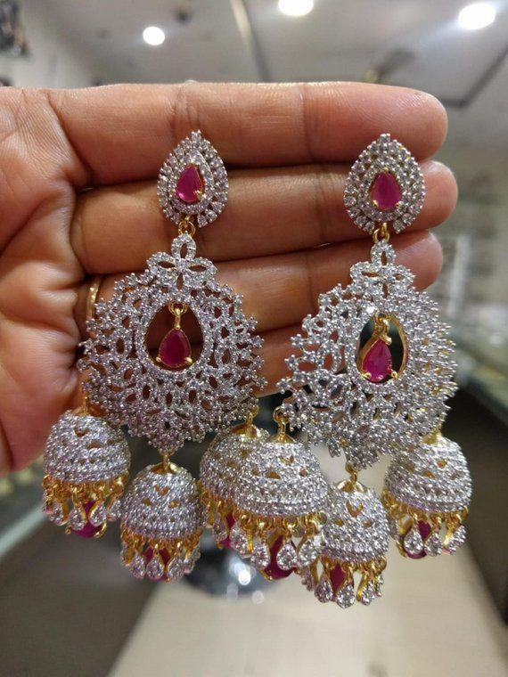 fa98a6541 The Grand American Diamonds Jhumkas/Earrings in Emerald and Ruby Colors (1gm  Gold)-Traditional & Fas