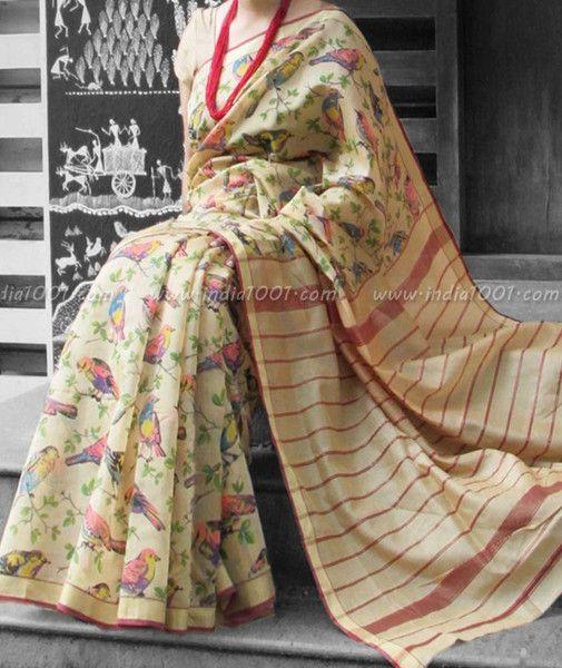 Elegant Maheshwari Silk Saree with Block Printing