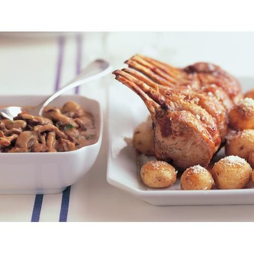 Veal rack with roasted mushroom sauce recipe. Roasted mushrooms make a deeply savoury, rich and earthy sauce for this tender roast rack of lamb. Served with little roast potatoes and your choice of vegetables for a fabulous roast lunch or dinner. #Easy #Veal #Meatdish #Dinner #Italian