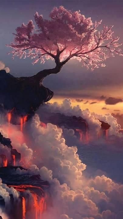 Solitude, tree, pink, clouds, beauty of Nature, gorgeous, stunning, photo
