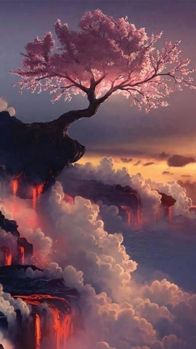 Cerezo en el Volcán Fuji, Japón.