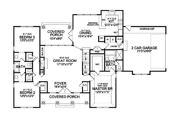 First Floor Plan image of HOLLY HILL...bonus space upstairs & walkout basement option