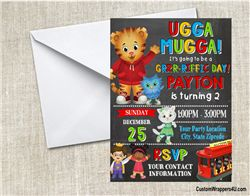 Daniel the tiger invitation birthday party chalkboard, Daniel Tiger's Neighborhood