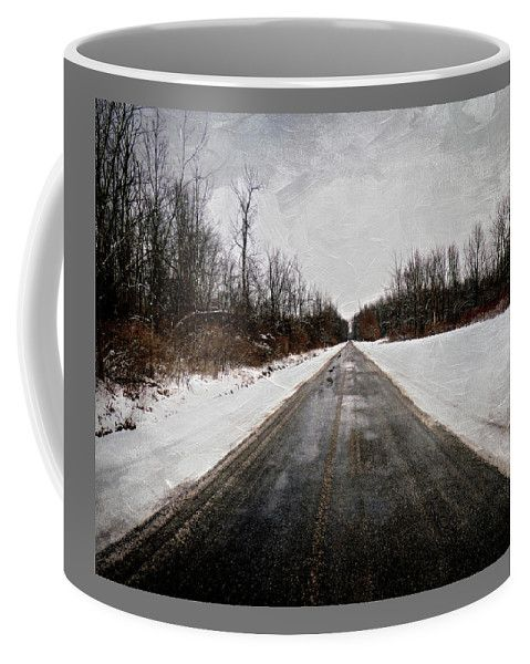 Long Snowy Country Road Coffee Mug by Leslie Montgomery.  Small (11 oz.)