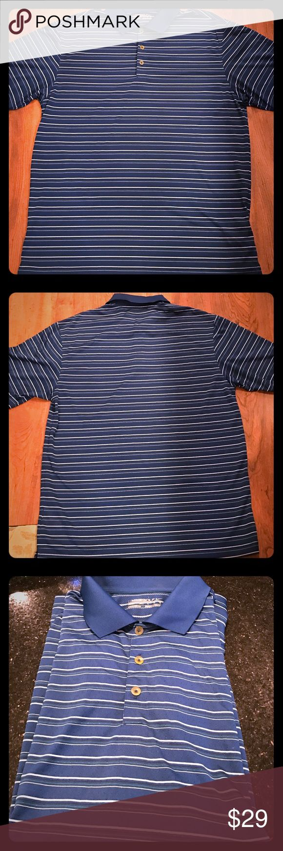 Golf shirt Men's striped short sleeved golf shirt in almost perfect condition. It's Nike dry-fit material ..very comfortable material almost wrinkle free. Nike Golf  Shirts Polos