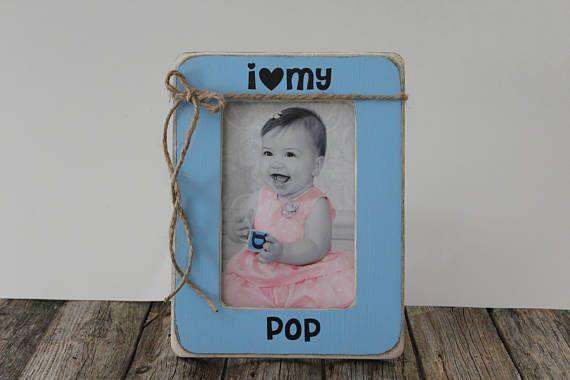 Grandpa Picture Frame I Love My Pop Blue Picture Frame