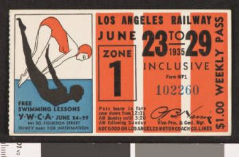 Los Angeles Railway weekly pass, 1935-06-23 :: LA as Subject