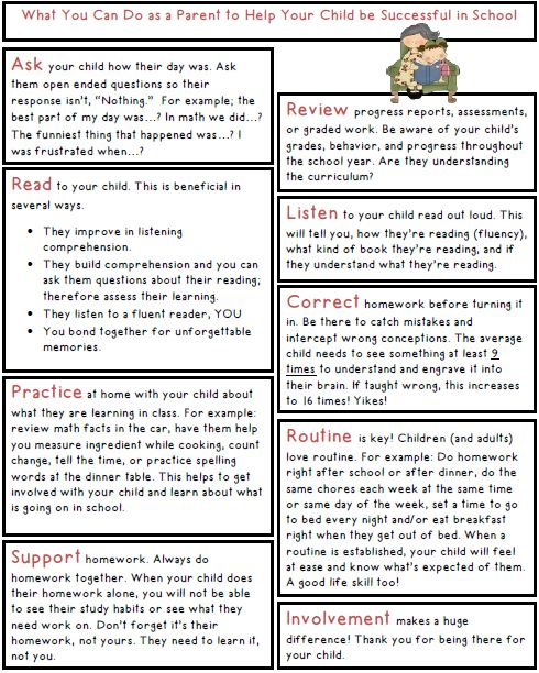Parent Reminders for a Successful School Year-Freebie!