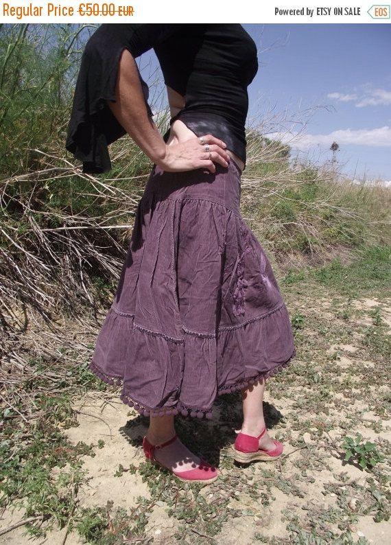 Sale Purple Recycled cotton fabric and applique handmade skirt Gypsy skirt Hippie Skirt Pixie skirt Bohemian skirt OOAK