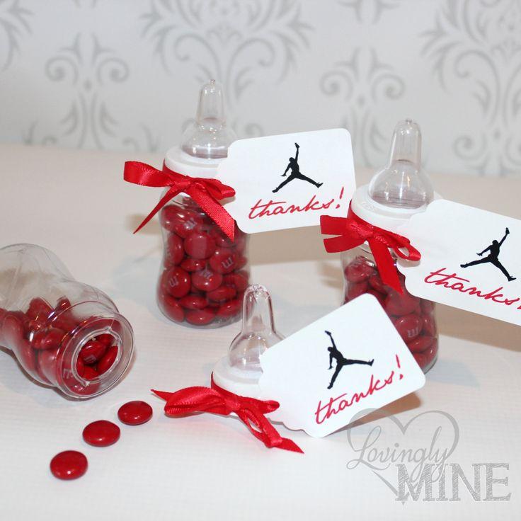jordan jumpman inspired baby shower favors plastic baby bottles 12 per set red
