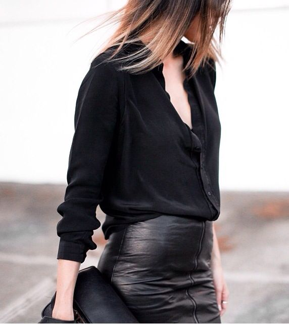classic black outfit with leather skirt   outfit inspiration