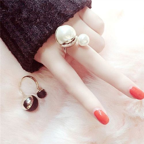 fashion simulated pearl open rings for women gold plated jewelry bijoux cute gift white and black colors