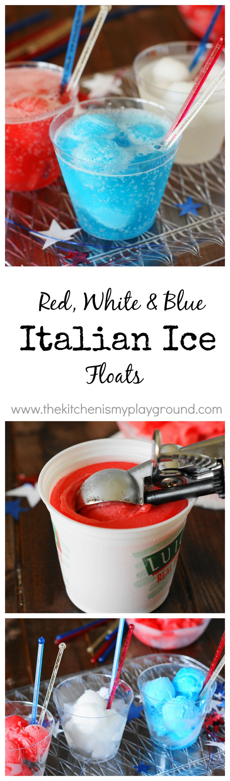 Red, White & Blue Italian Ice Floats ~ an easy & fun treat for the kiddos {and grown-ups, too}! www.thekitchenismyplayground.com