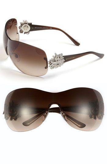 I'm lovin' these BVLGARI Embellished Temple Shield Sunglasses!