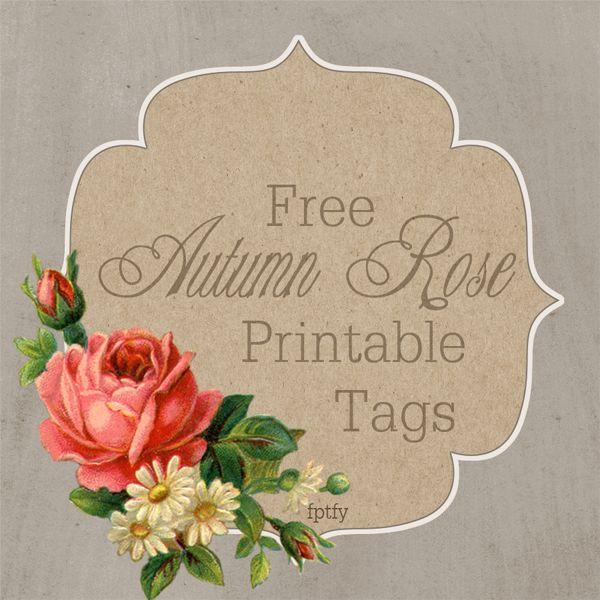 Free Autumn Rose Printable Tags