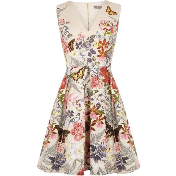 Oasis Botanical Placement Skater ($100) ❤ liked on Polyvore featuring dresses, natural, women, floral printed dress, glamorous dresses, botanical dress, pink floral dress and oasis dress