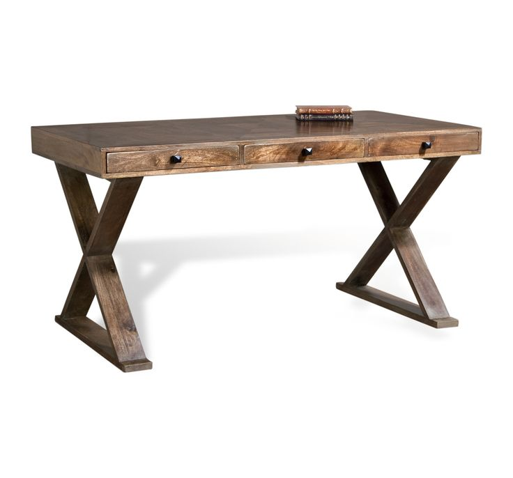 thick wood writing table | Salers Contemporary French Gray Solid Wood Writing Desk