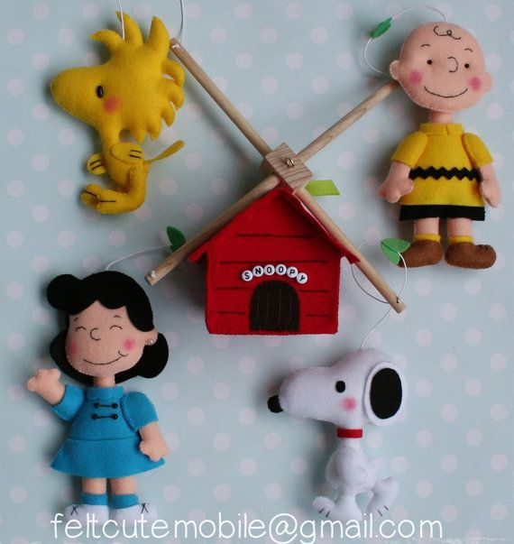 Snoopy Mobile Charlie Brown Mobile Baby Crib by feltcutemobile