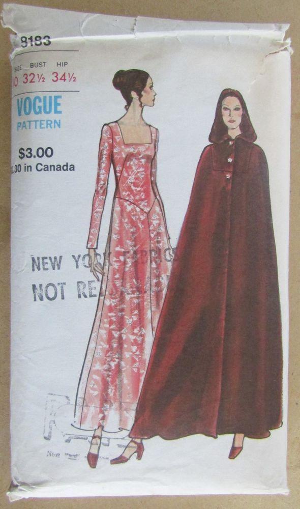 73a1d87d07e53 1970s Vogue 8183 Misses Evening Dress   Cape Sewing Pattern Size 10   VoguePatterns