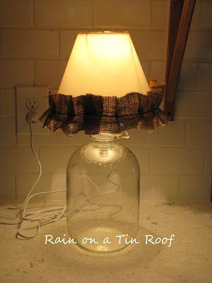 Easy way to turn a bottle into a lamp!  DIY Bottle Lamp {rainonatinroof.com} #DIY #Lamp #Bottle