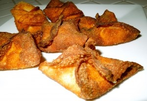 Cream Cheese Wontons. Relatively boring recipe. I would add some seasoning and probably jalapenos since I am on a kick of eating them all the time. Those who like sea food could make them into crab rangoon by adding crab meat! :)
