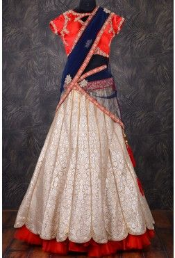 Designer Bridal Lehenga-Tomato Red-Zardosi Work-GC1472