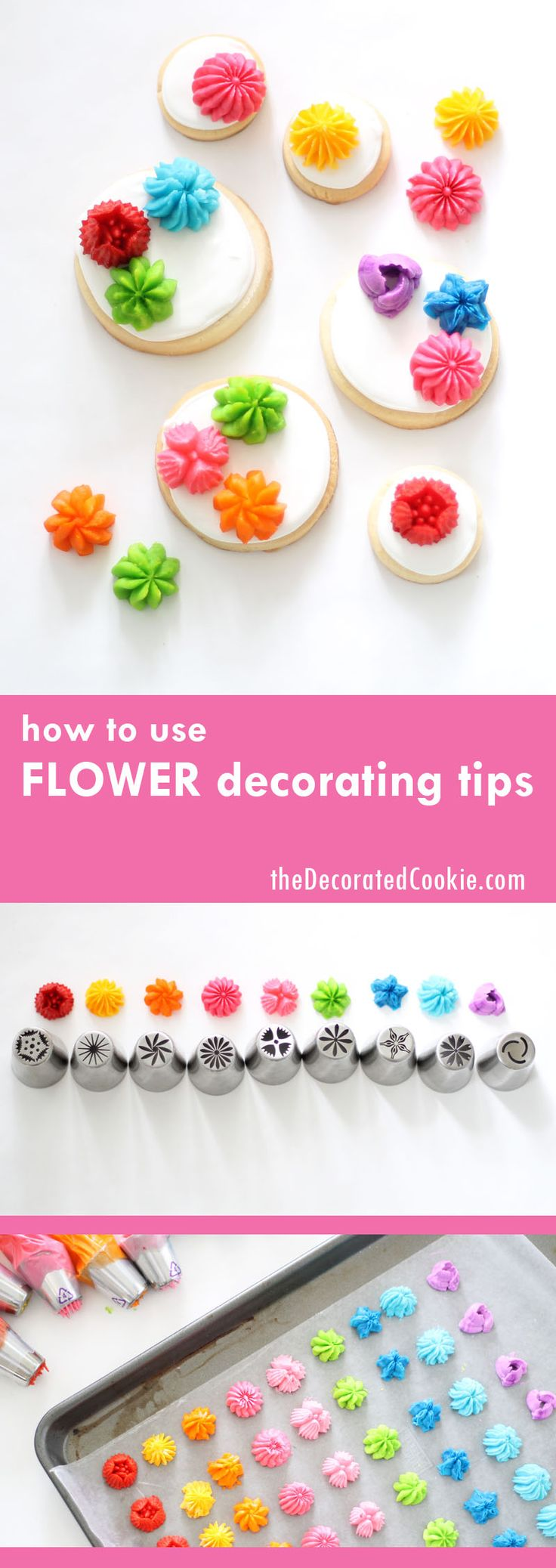 how to use flower decorating tips for cakes, cookies or cupcakes by @decoratedcookie