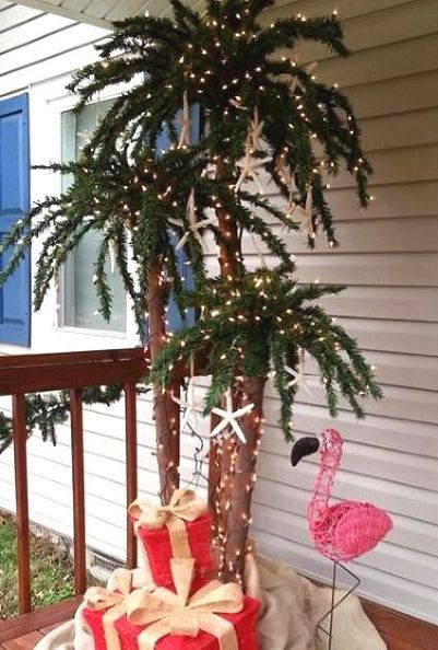 coastal christmas trees beach christmas trees reader submissions, seasonal holiday d cor, Outdoor palm Christmas tree with lights flamingo and gifts By Beth Walker Dobbins