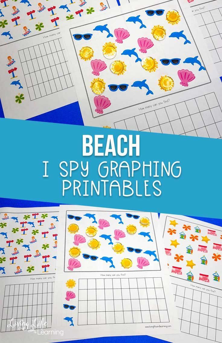 Beach I Spy Graphing Printable Graphing Free Worksheets For Kids Preschool Kids [ 1135 x 735 Pixel ]