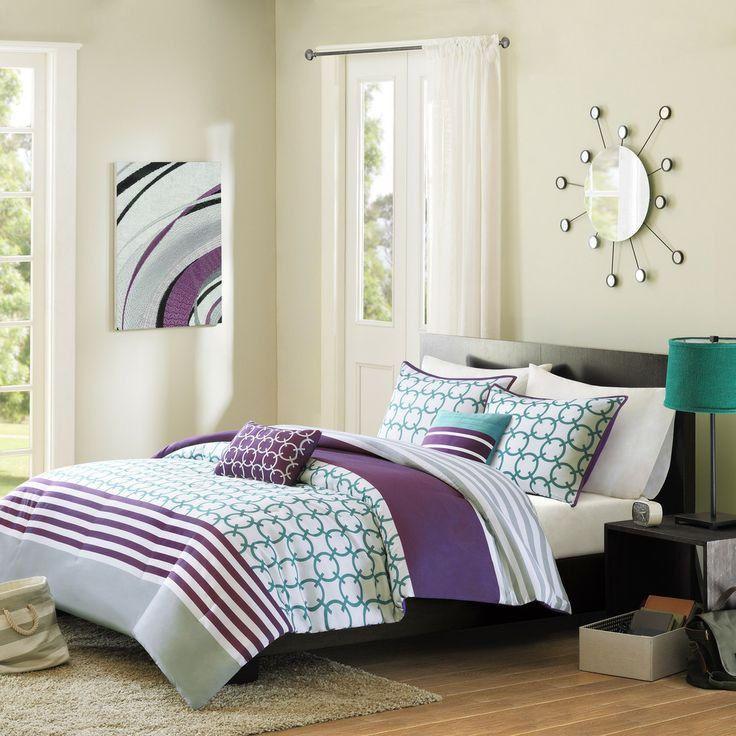 modern teal blue grey purple white chic stripe girls comforter set w